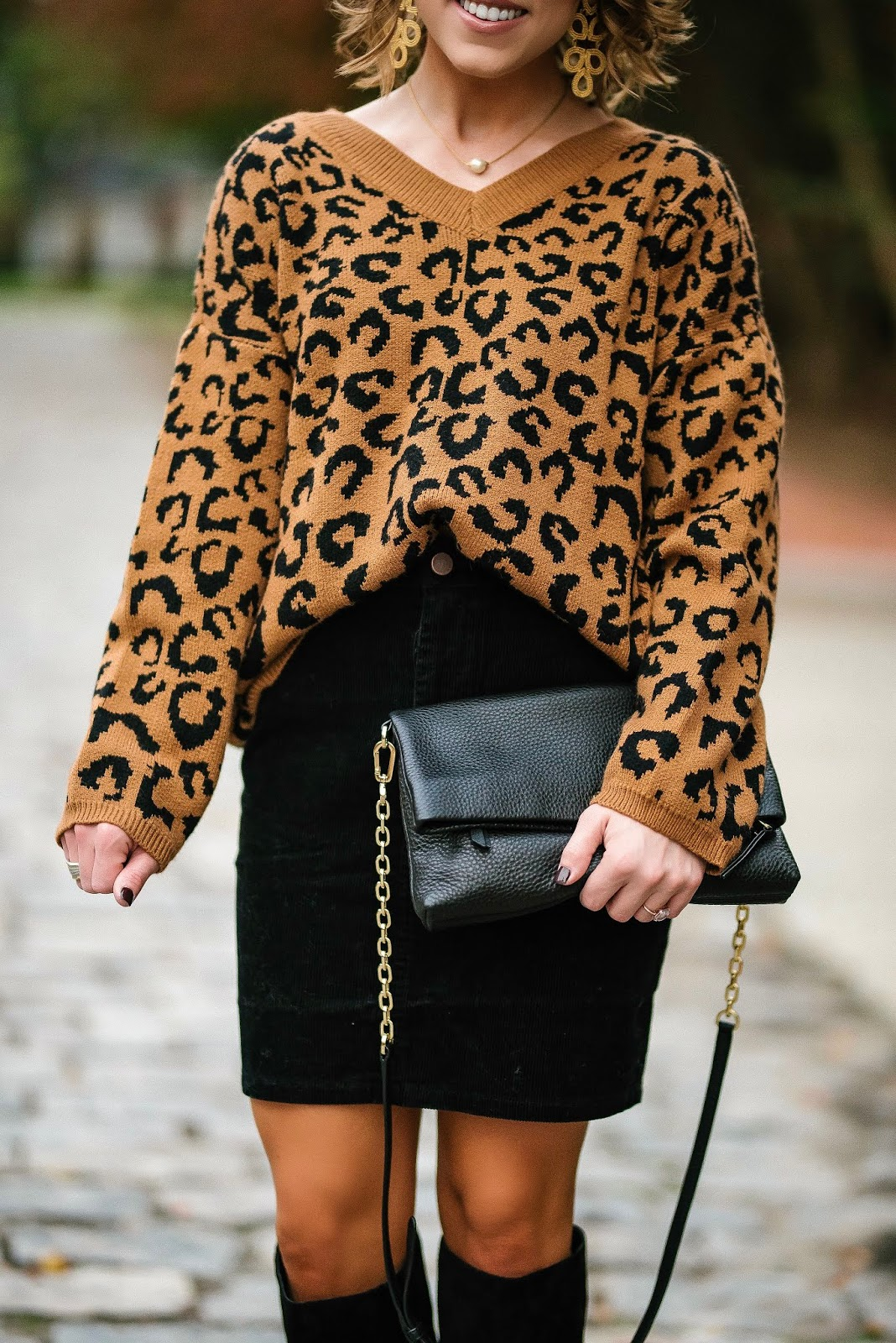 Under $50 Leopard Sweater Paired With Under $40 Black Cord Skirt - Something Delightful Blog