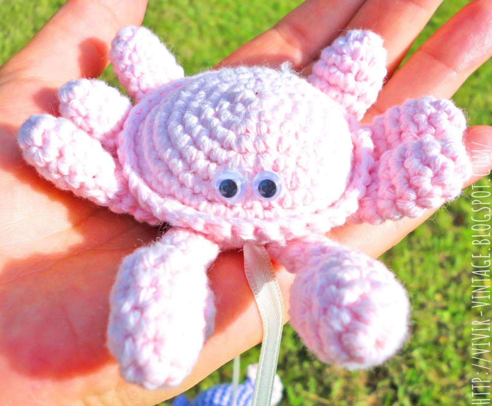Amigurumi: Como tejer a crochet un hermoso cangrejo ~ vivir vintage