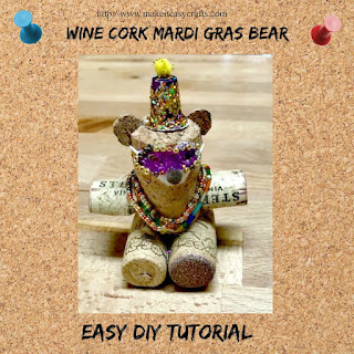 Wine cork mardi gras bear
