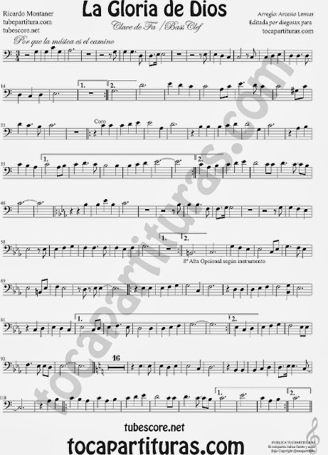 Partitura de para clave de fa, trombón, chelo, fagot, bombardino, tuba...  Easy Sheet Music for bass clef trombone tube cello bassoon euphonium...