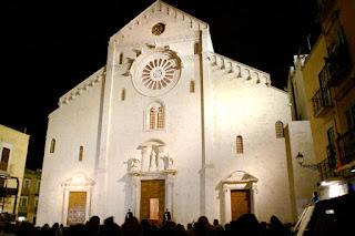 Bari's San Sebino cathedral by night