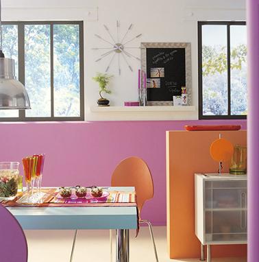 Panorama Peinture Couleur Cuisine Orange Et Rose Ambiance
