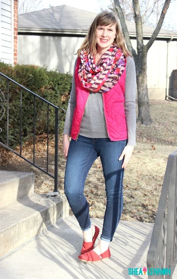 Subtle red and pink mix - outfit idea | www.shealennon.com