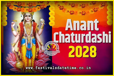 2028 Anant Chaturdashi Pooja Date and Time, 2028 Anant Chaturdashi Calendar