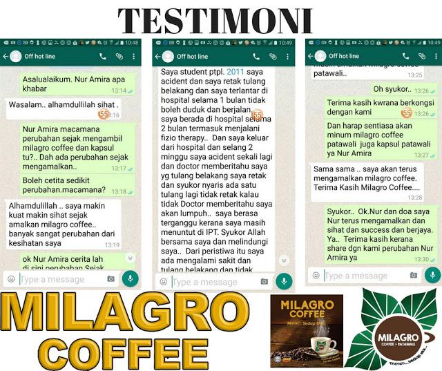 Kebaikkan Milagro Coffee Patawali, testimoni pengguna milagro coffee patawali
