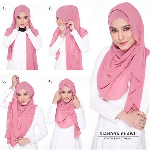 contoh tutorial hijab pashmina modern terbaru 2017/2018