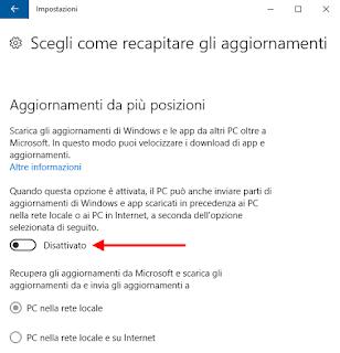 Windows 10 - Aggiornamenti da più posizioni