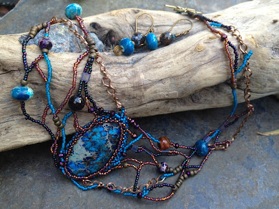Wrack and Ruin, freeform beaded necklace & earrings by Karen Williams