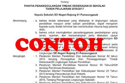 SK Tim Penanggulangan Tindak Kekerasan di Sekolah sesuai Dapodik