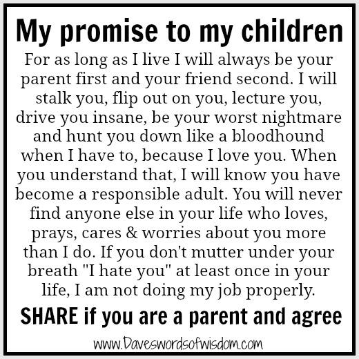 Daveswordsofwisdomcom My Promise To My Children