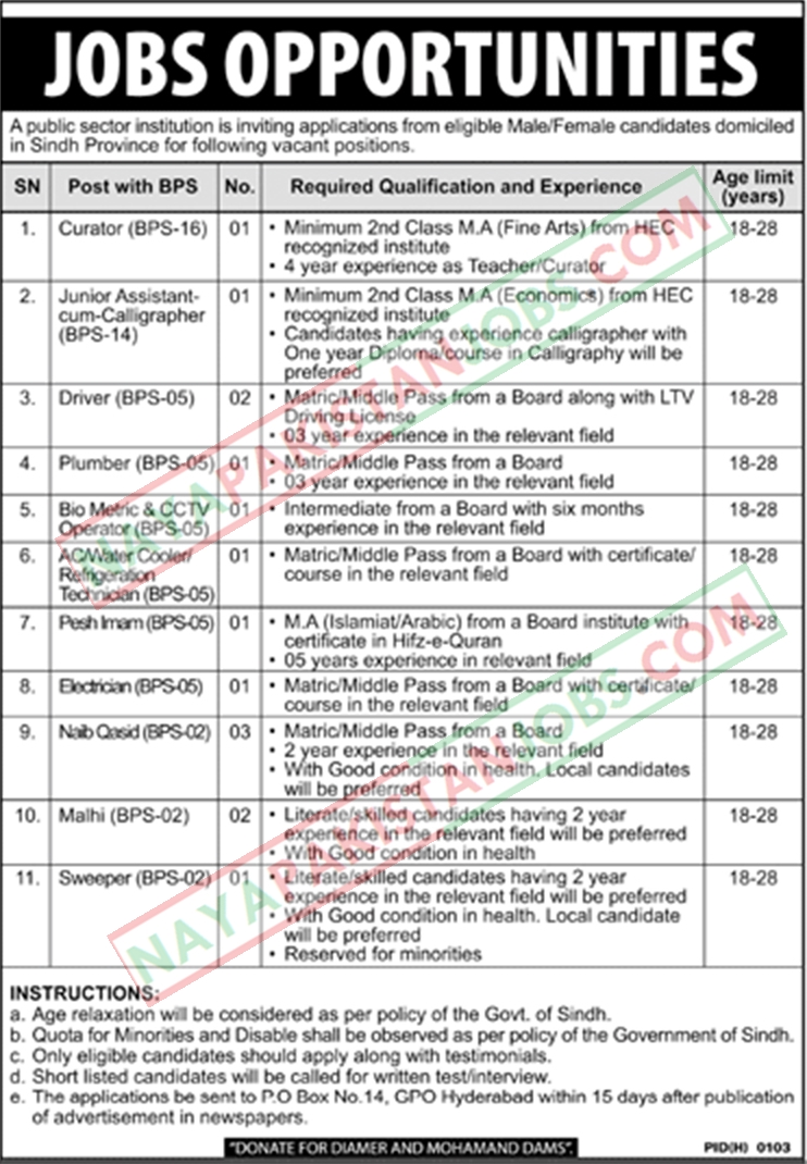 Latest Vacancies Announced in Public Sector Organization Hyderabad 27 September 2018 - Naya Pak Jobs