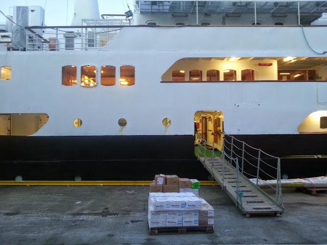 Hurtigruten MS Lofoten in Bergen, Norway - Gangway