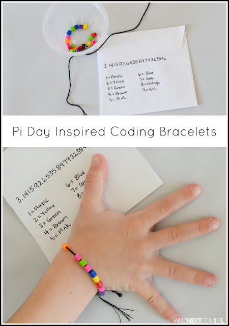 Pi Day craft idea for kids: making coding bracelets from and Next Comes L