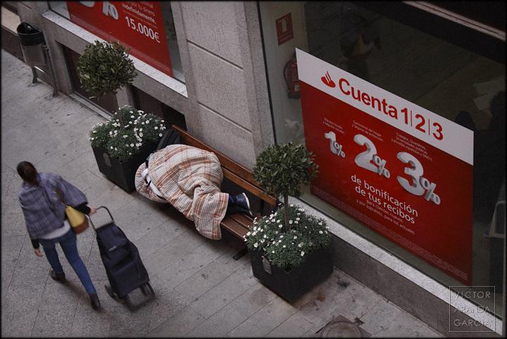 fotografía, Murcia, Arriba Extraña, banco Santander, sin_techo, sin_hogar, desahucios