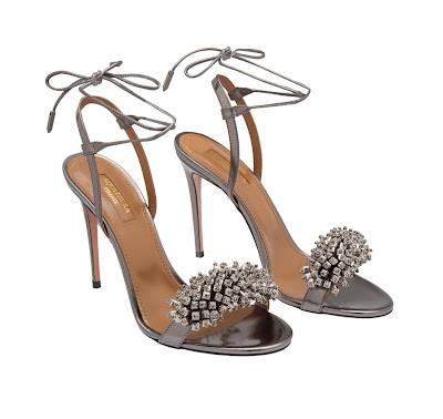 Aquazzura Monaco Patent Leather Sandals in Metallic Silver