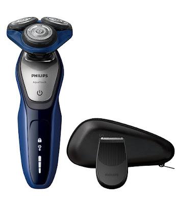 Philips AquaTouch S5600/12 - Afeitadora eléctrica, sin cable, uso en húmedo y seco, 50 min de uso/1 h carga, con funda, color azul