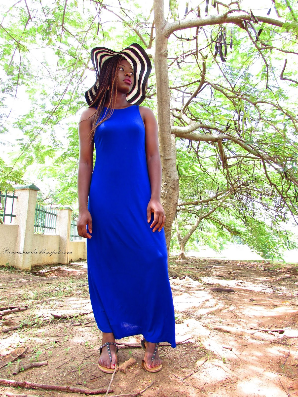 dress link, cobalt, maxi dress, floppy hat