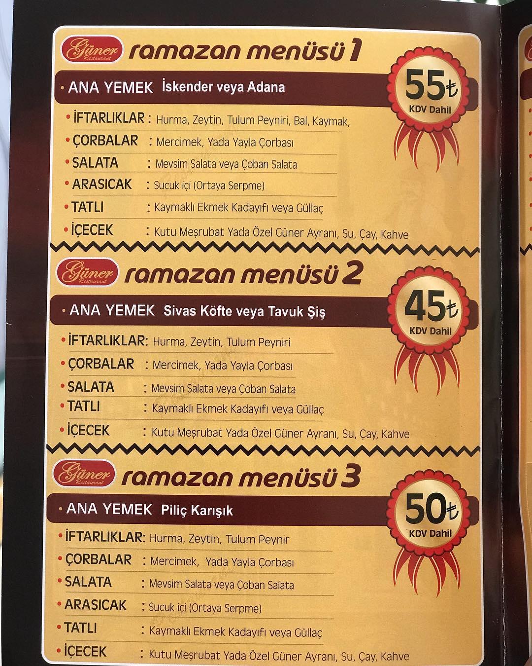 güner restaurant kayseri ramazan 2019 iftar menü fiyat kayseri iftar mekanları