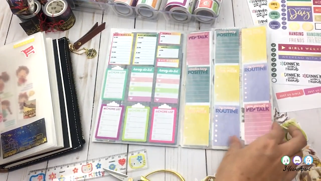 Flip-through of finished DIY washi and sticker storage insert featuring functional stickers.