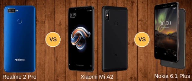 Realme 2 Pro, Xiaomi Mi A2, Nokia 6.1 Plus, Comparison, full reviews, reviews, review, Realme, Xiaomi, Nokia, mobile, smartphone, smartphones, Nokia 6.1, phones, phone,