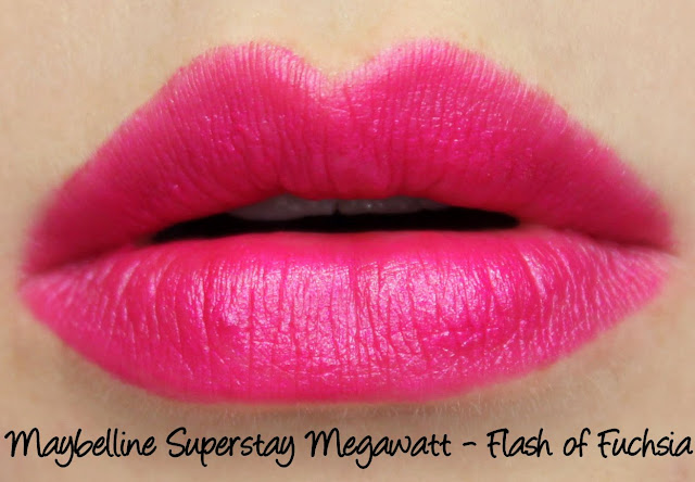 Maybelline Superstay Megawatt Lipstick - Flash of Fuchsia Swatches & Review
