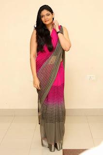 Kalpika Ganesh transparent Saree backless blouse Hot Latest Navel Queens