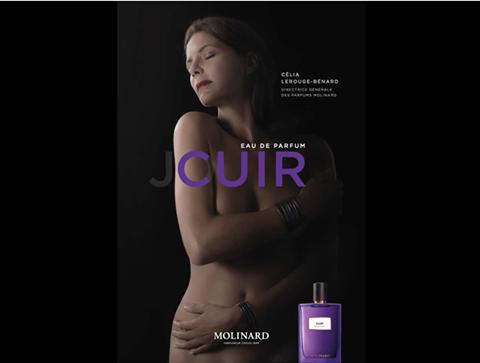Publicité pour le parfum Cuir de Molinard - Blog beauté Les Mousquetettes