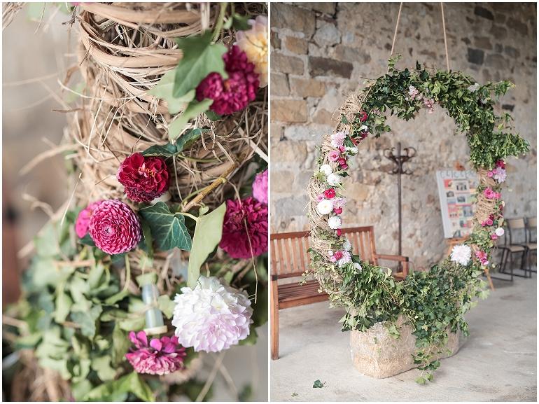 décoration mariage couronne fleurs photographe 77