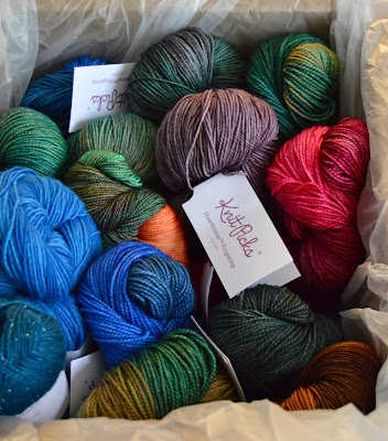 giant box of sale yarn from Knit Picks