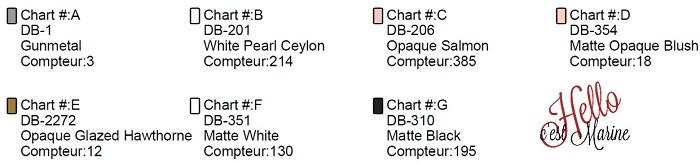 Couleurs pour le  diagramme du chat félix, bicolore, tuxedo à tisser avec des perles Miyuki delicas 11/0 par Hello c'est Marine