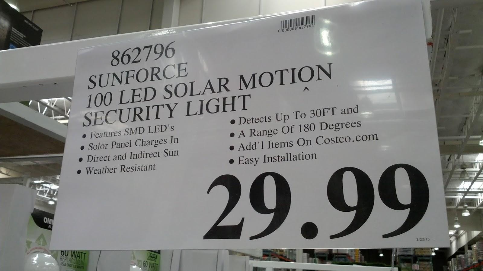 sunforce 100 led solar motion security light costco weekender Capstone Motion Senor Light deal for the sunforce 100 led solar motion security light at costco