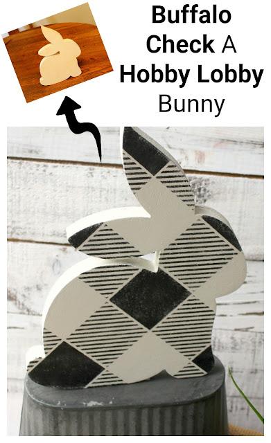 Easy Hobby Lobby Easter Craft Projects #Easterbunny #buffalocheck #oldsignstencils #dixiebellepaint #rubontransfer #hobbylobby #Easterdecor