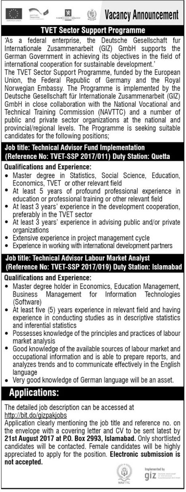 Jobs In TVET Sector Support Programme Islamabad  Aug 2017