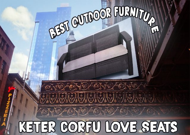 Corfu,  Love seats, Outdoor Furniture, Keter Corfu Collection, Corfu Collection, Best Seller Love Seats,