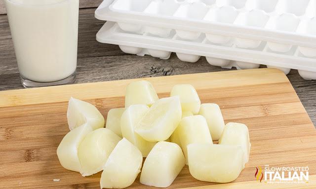 Frozen milk cubes