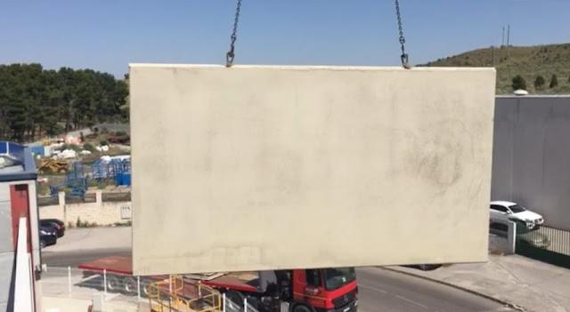 montaje panel macizo de hormigón