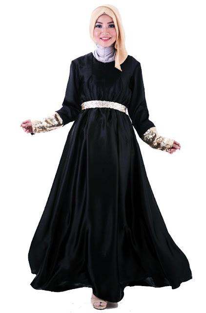 baju muslim pesta bahan satin terbaru