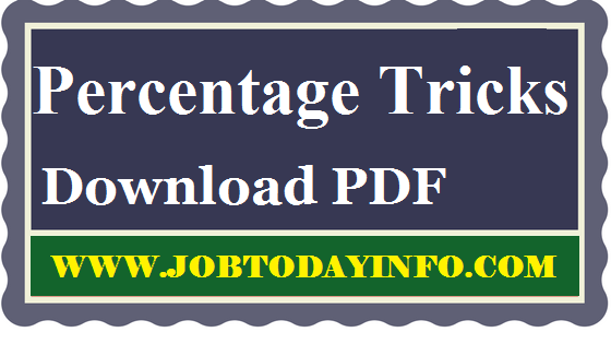 Percentage Problems Shortcut and Tricks for Competitive Exams Free PDF Download