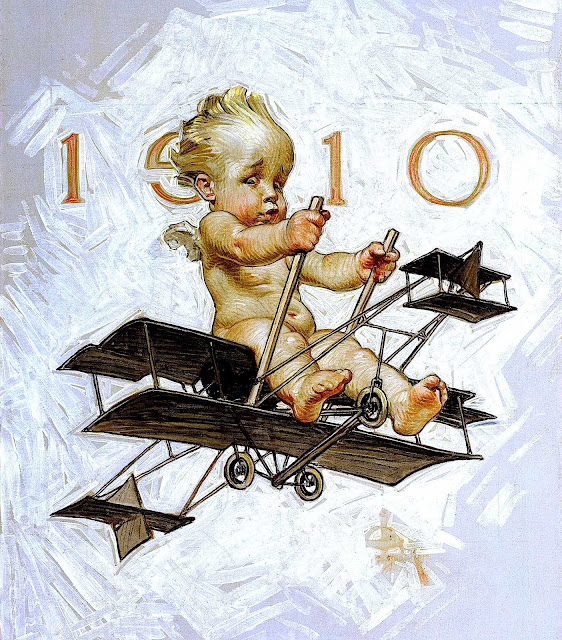 a Joseph Christian Leyendecker illustration of  the 1910 New Year's baby in a biplane