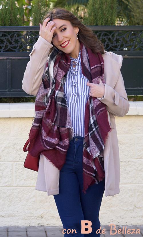 Warm tartan plaid blanketshawl scarf