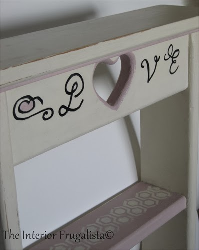 Vintage wooden wall shelf with LOVE script detail