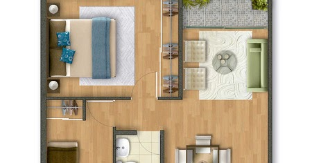 Plano de departamento de 54 m2 planos de casas gratis y for Planos de casas 54 m2