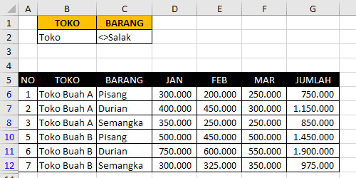 Kriteria Range Pada Advanced Filter Excel 2