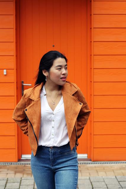 Orange suede jacket outfit