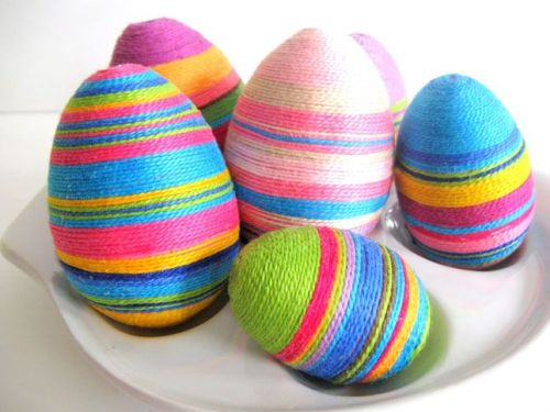colorful embroidery floss Easter eggs