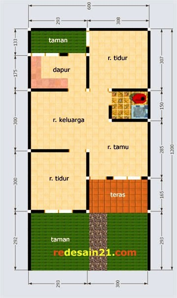 gambar denah rumah luas tanah 100 m2 4