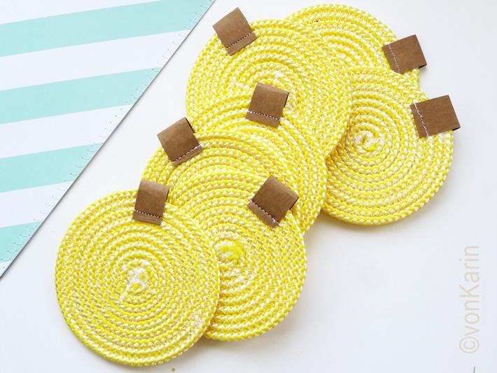 Gelbe Untersetzer aus Seil DIY
