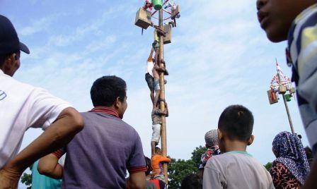 Panjat Pinang Meriahkan Hut RI Ke 72 Di Muba