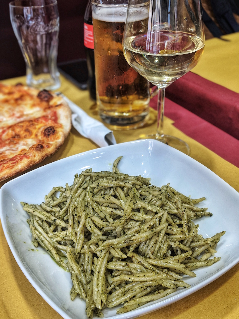 Vegan pesto pasta from La Follia in Rome