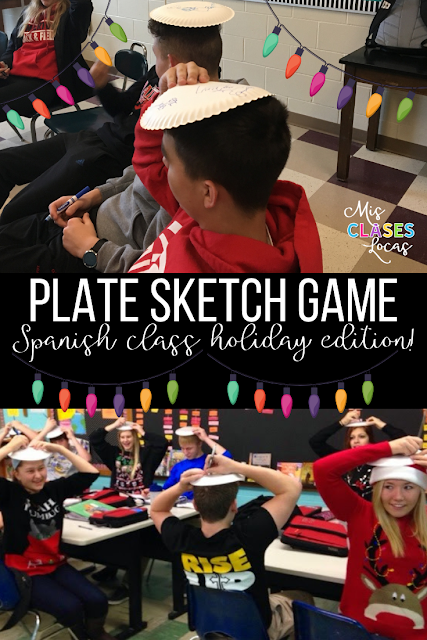 QuQuick Tip: Plate Sketch Game -  perfect for Christmas in Spanish class